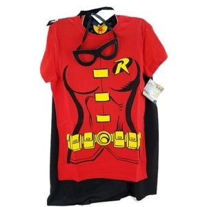 Women's DC Comics Robin T-shirt with Mask Small